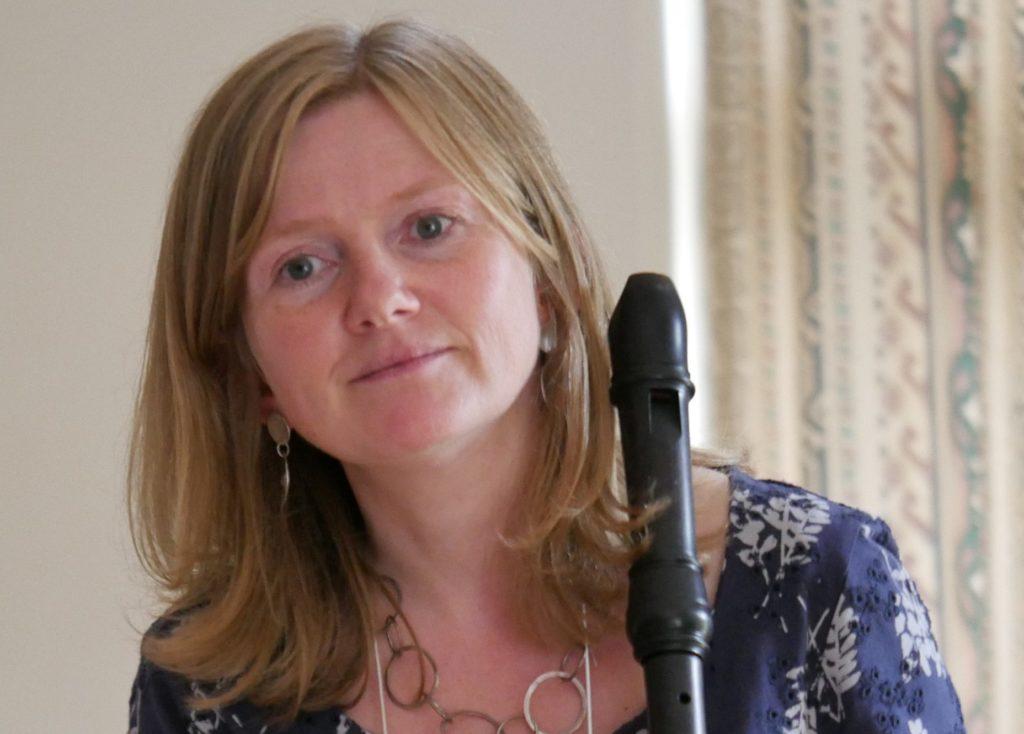 Annabel Knight holding treble recorder
